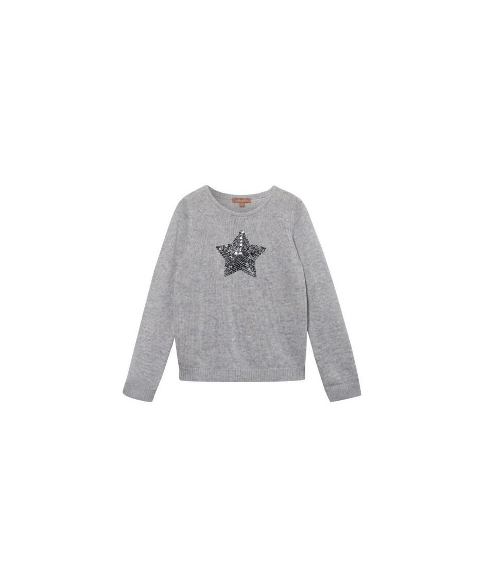 Sequin Star Jumper - Grey