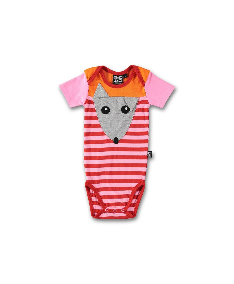 Baby mouse suit s/s, pink/red stripe