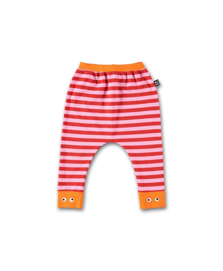 Baby pants, pink/red stripe
