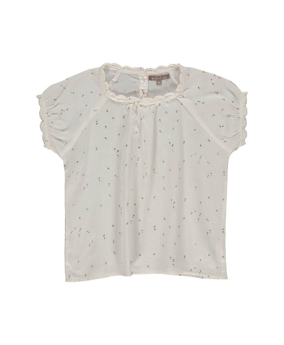 Blusa estampado florecillas fondo blanco