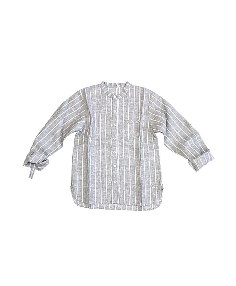 Camisa Lino Rayas / Gris