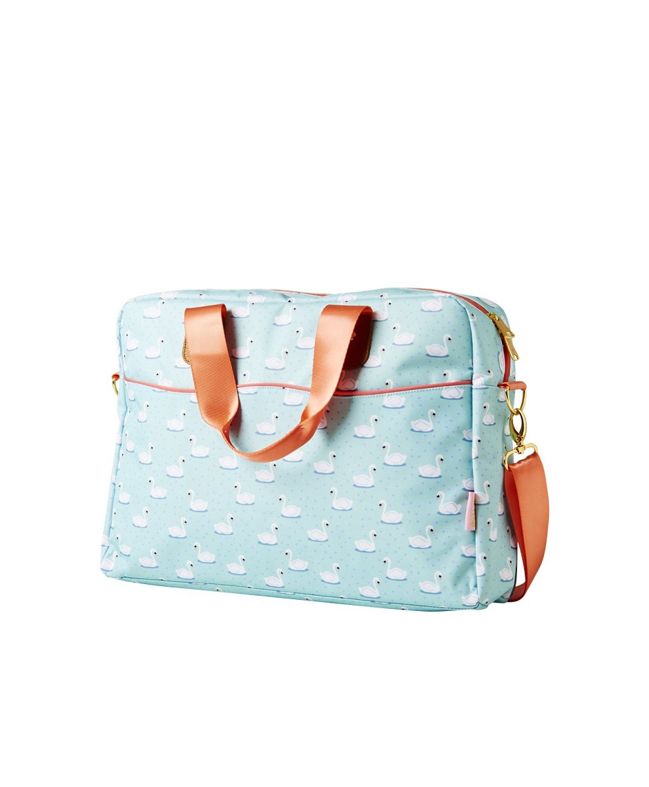 Rice Laptop Bag in Swan Print