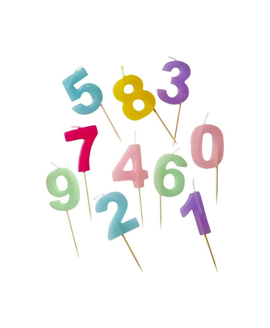 Rice velas de números de colores