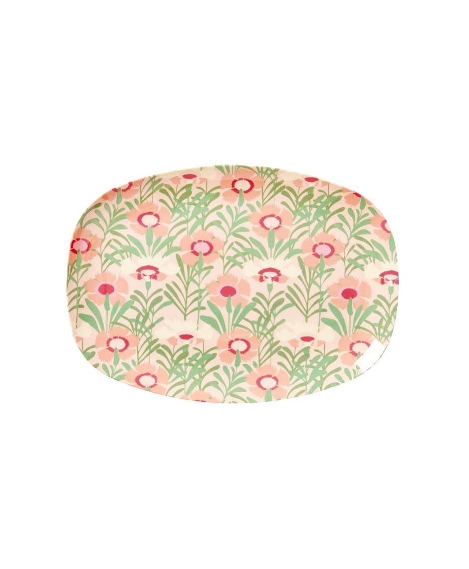 Rice rectangular melamine plate floral