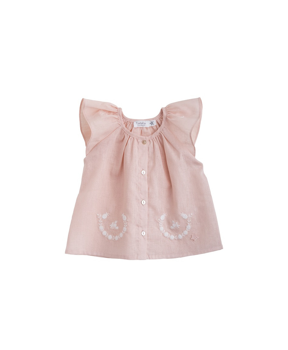 TOCOTO BLOUSE EMBRODERY PINK