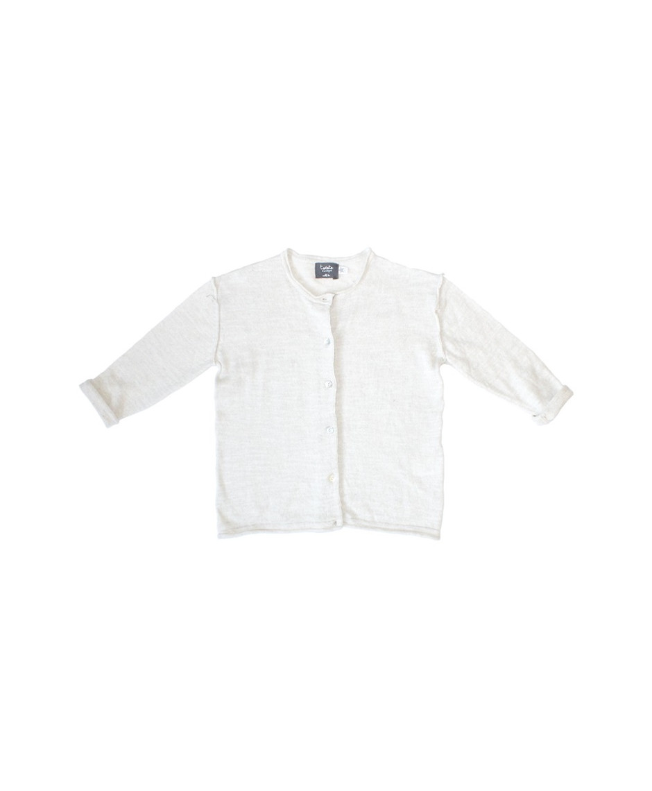 TOCOTO BASIC KNITTED CARDIGAN WHITE