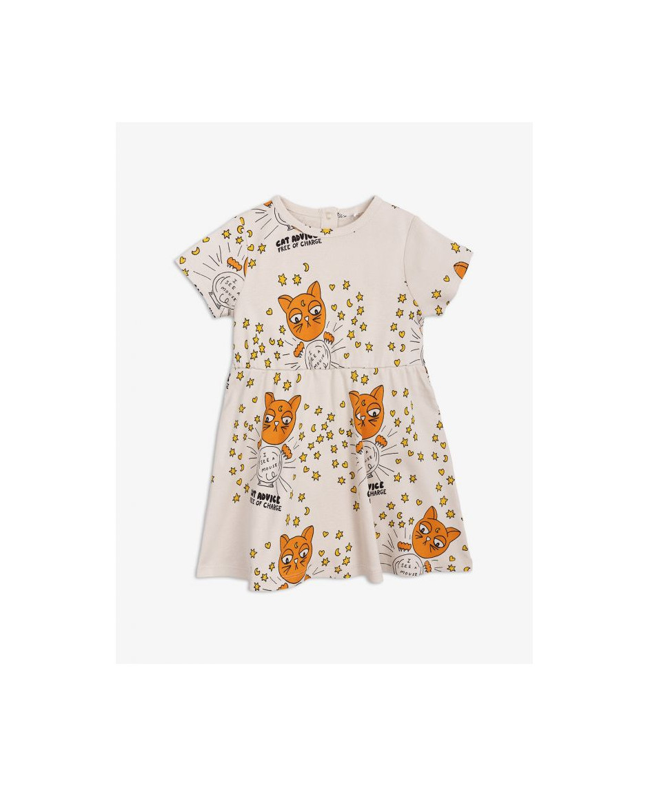 MINI RODINI DRESS BABY CAT ADVISE BEIGE