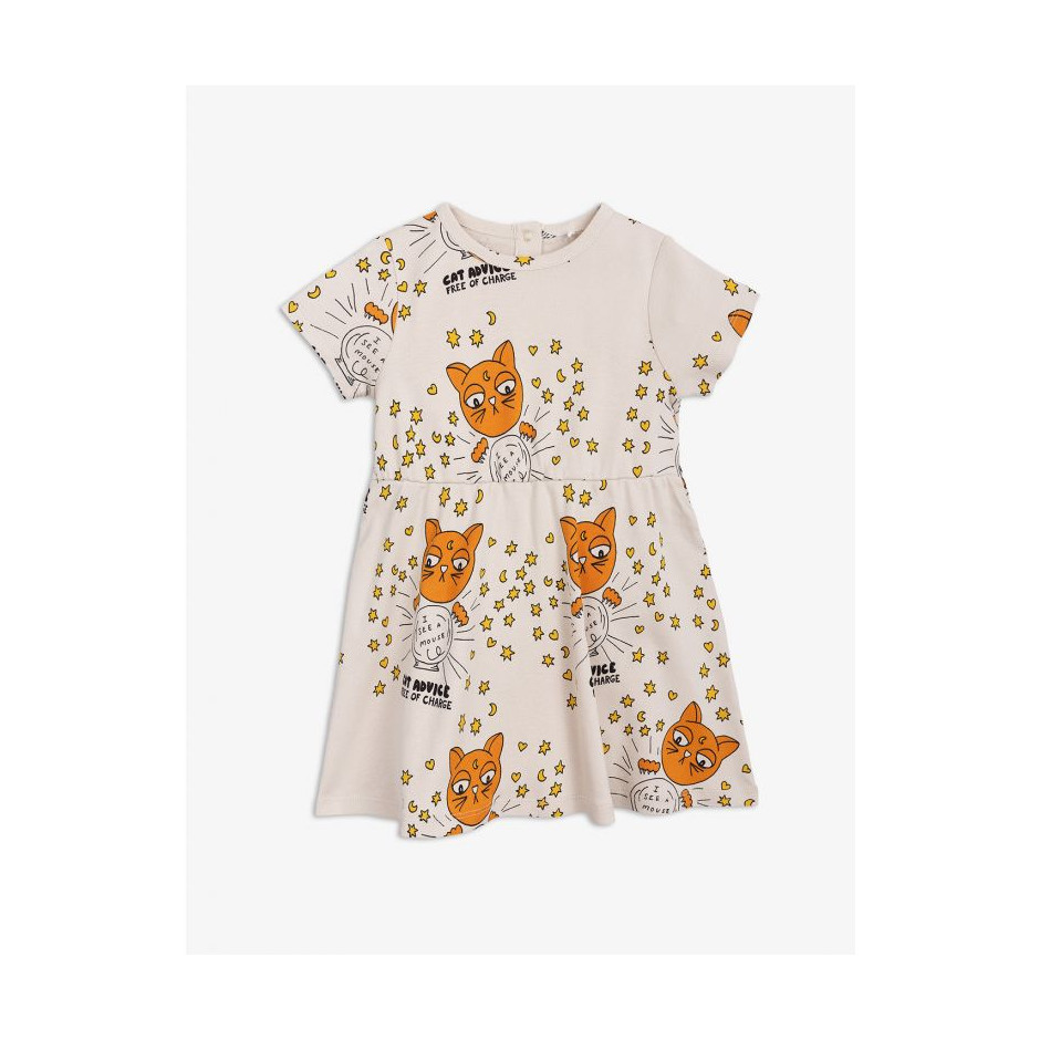 MINI RODINI DRESS CAT ADVISE BEIGE