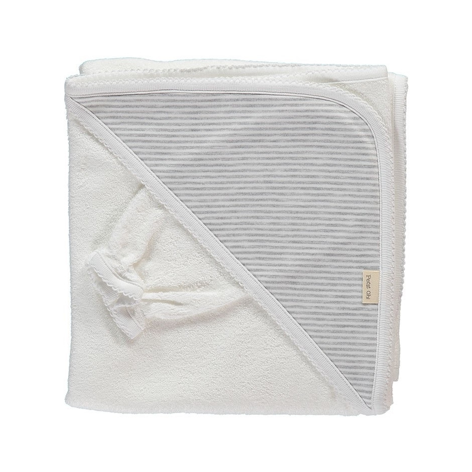 PETIT OH HOOD TOWEL + MITTEN STRIPES GREY