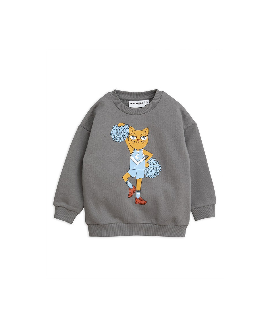 MINI RODINI SWEATSHIRT CHEERCAT GREY