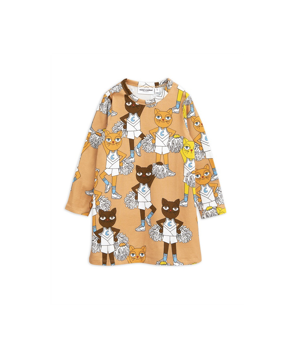 MINI RODINI DRESS CHEERCATS BEIGE