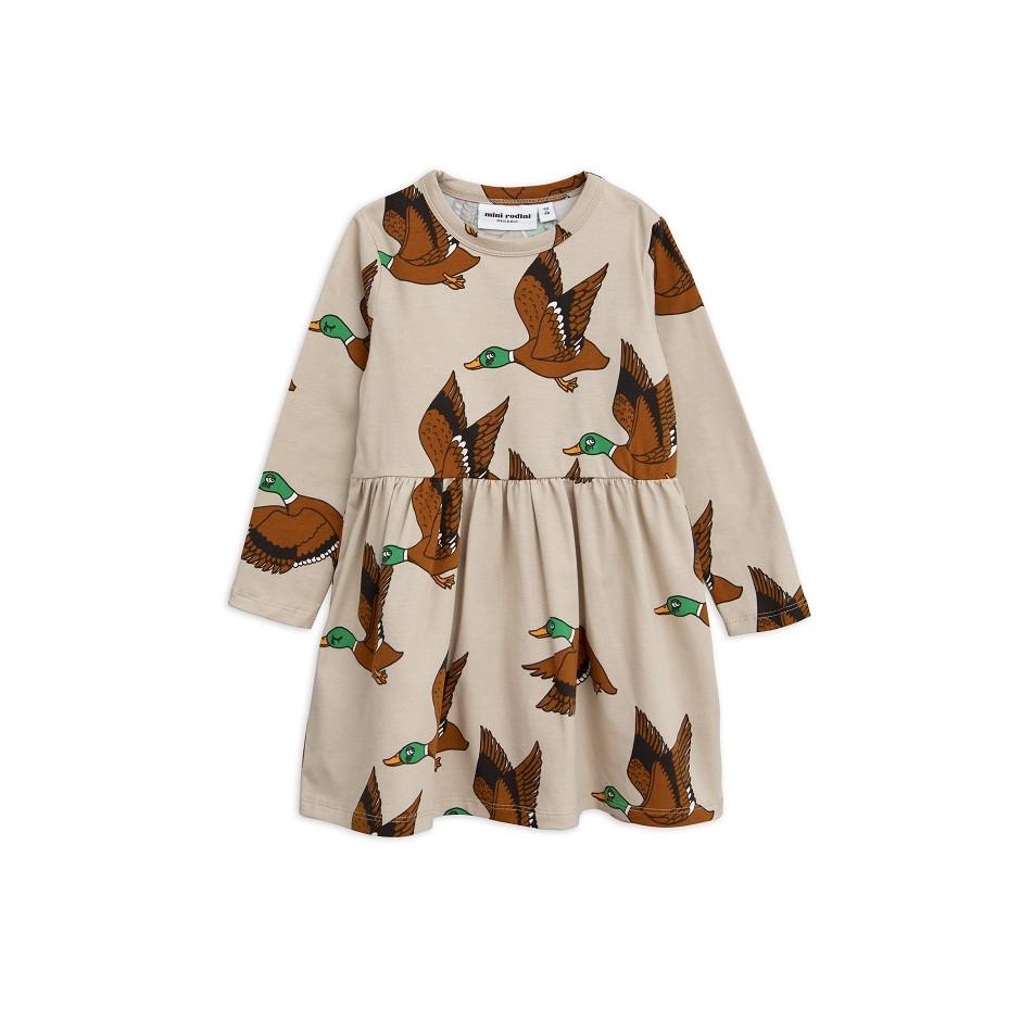 MINI RODINI DRESS BABY DUCKS BEIGE