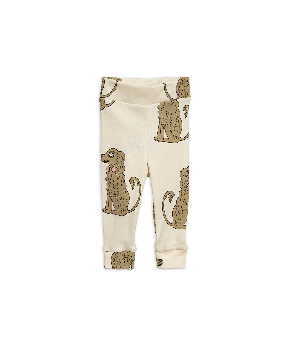 MINI RODINI LEGGINGS NB SPANIEL OFFWHITE