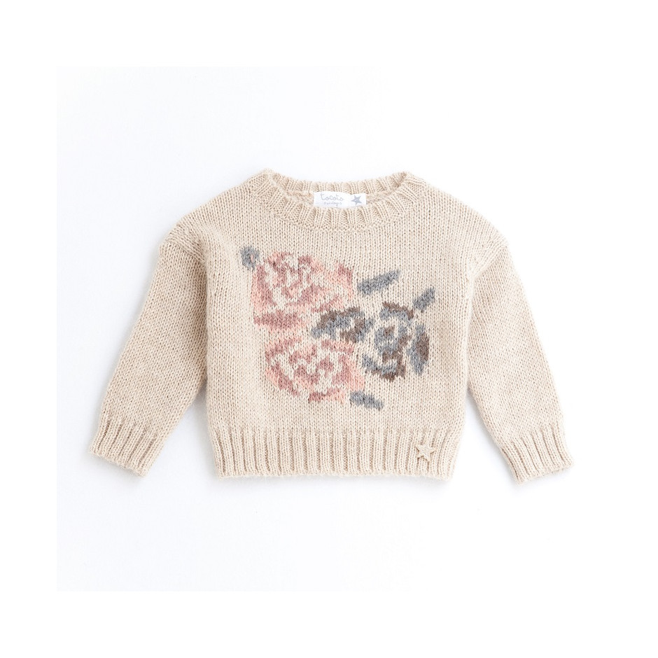TOCOTO SWEATER BABY ROSES BEIGE