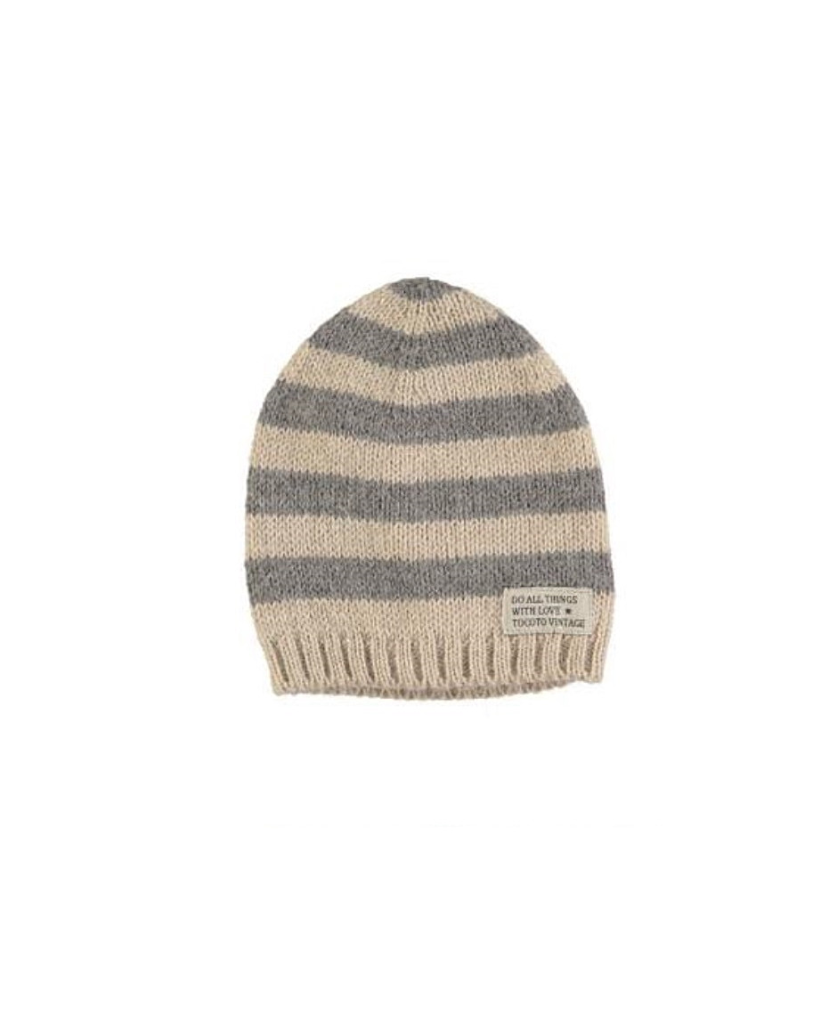 TOCOTO HAT STRIPED GREY BEIGE