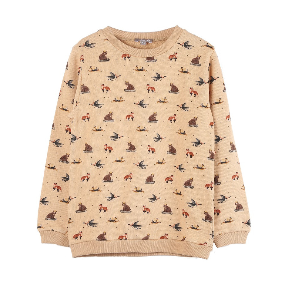 EMILE ET IDA SWEATSHIRT ANIMALS NOUGAT