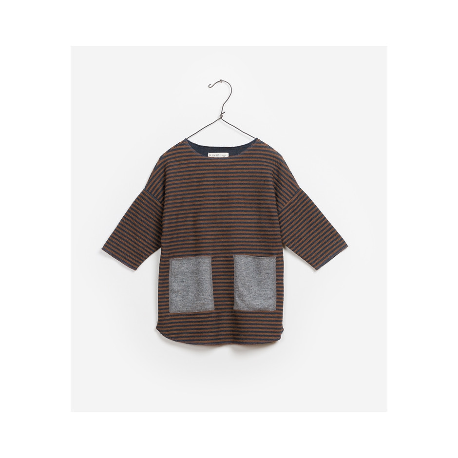 PLAY UP DRESS STRIPES CARBON BROWN