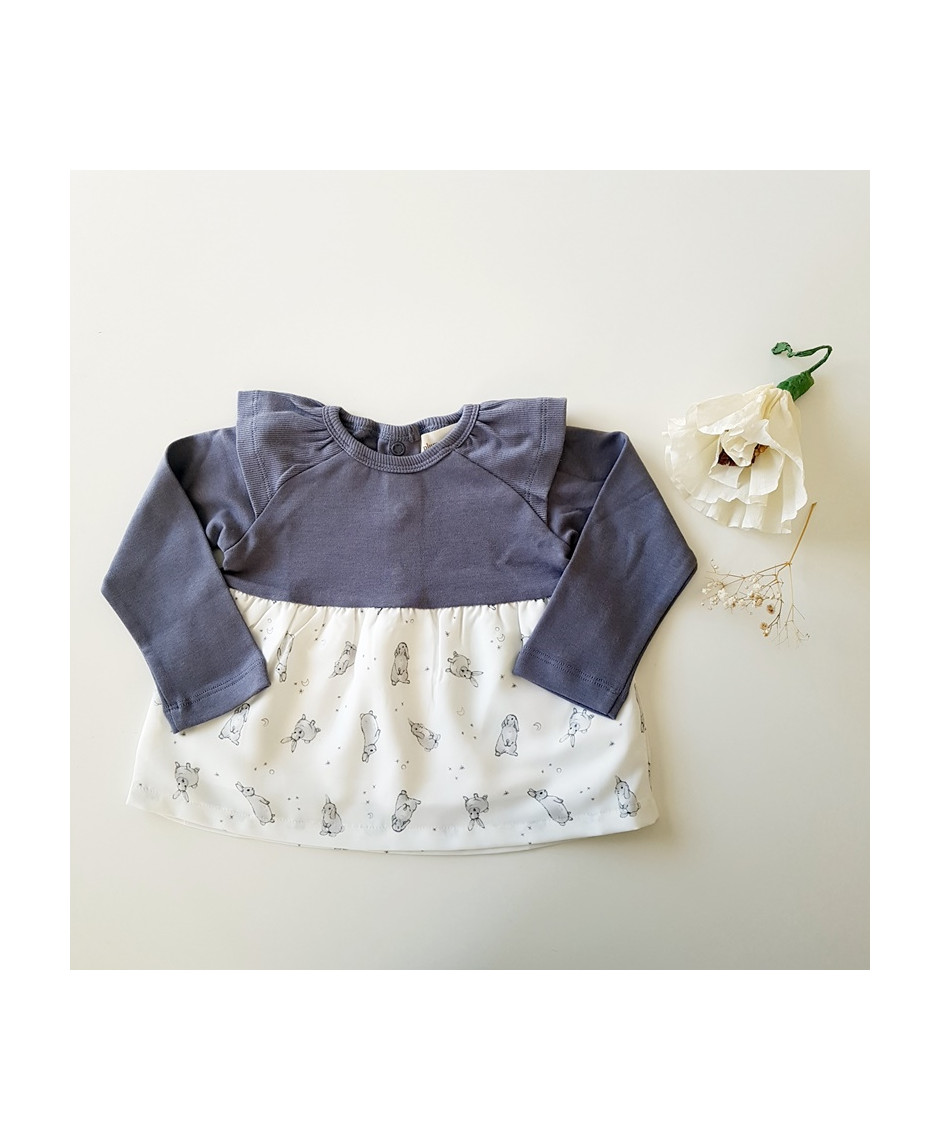 PLUMETI RAIN DRESS RABBITS BABY ECRU GREY