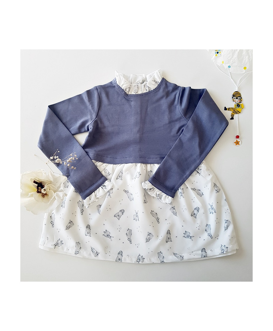 PLUMETI RAIN DRESS RABBITS ECRU GREY