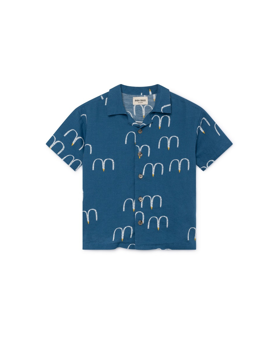 BOBO CHOSES SHIRT BIRDS HAWAIANA BLUE
