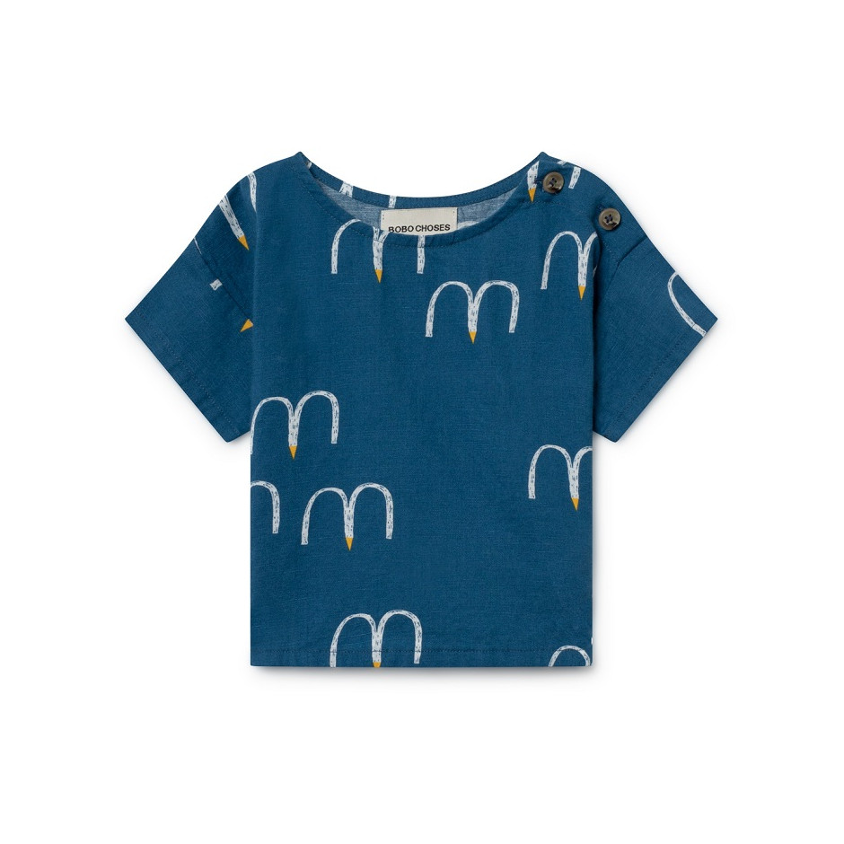 BOBO CHOSES BLOUSE BIRDS BLUE
