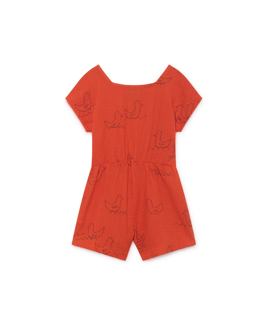 BOBO CHOSES PLAY SUIT GEESE RED-ORANGE