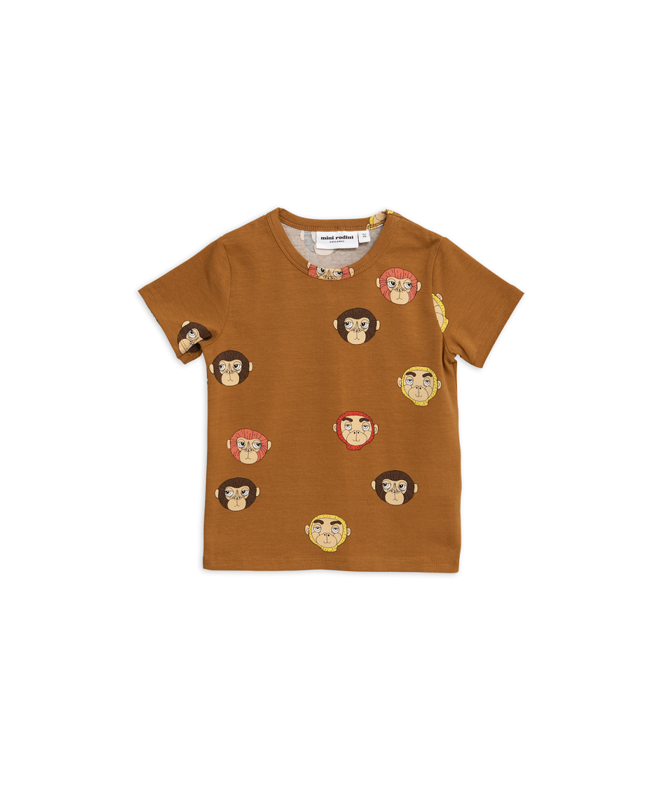 MINI RODINI T-SHIRT MONKEYS BROWN