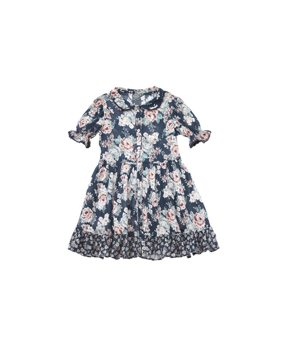 TOCOTO DRESS COLLAR FLOWERS