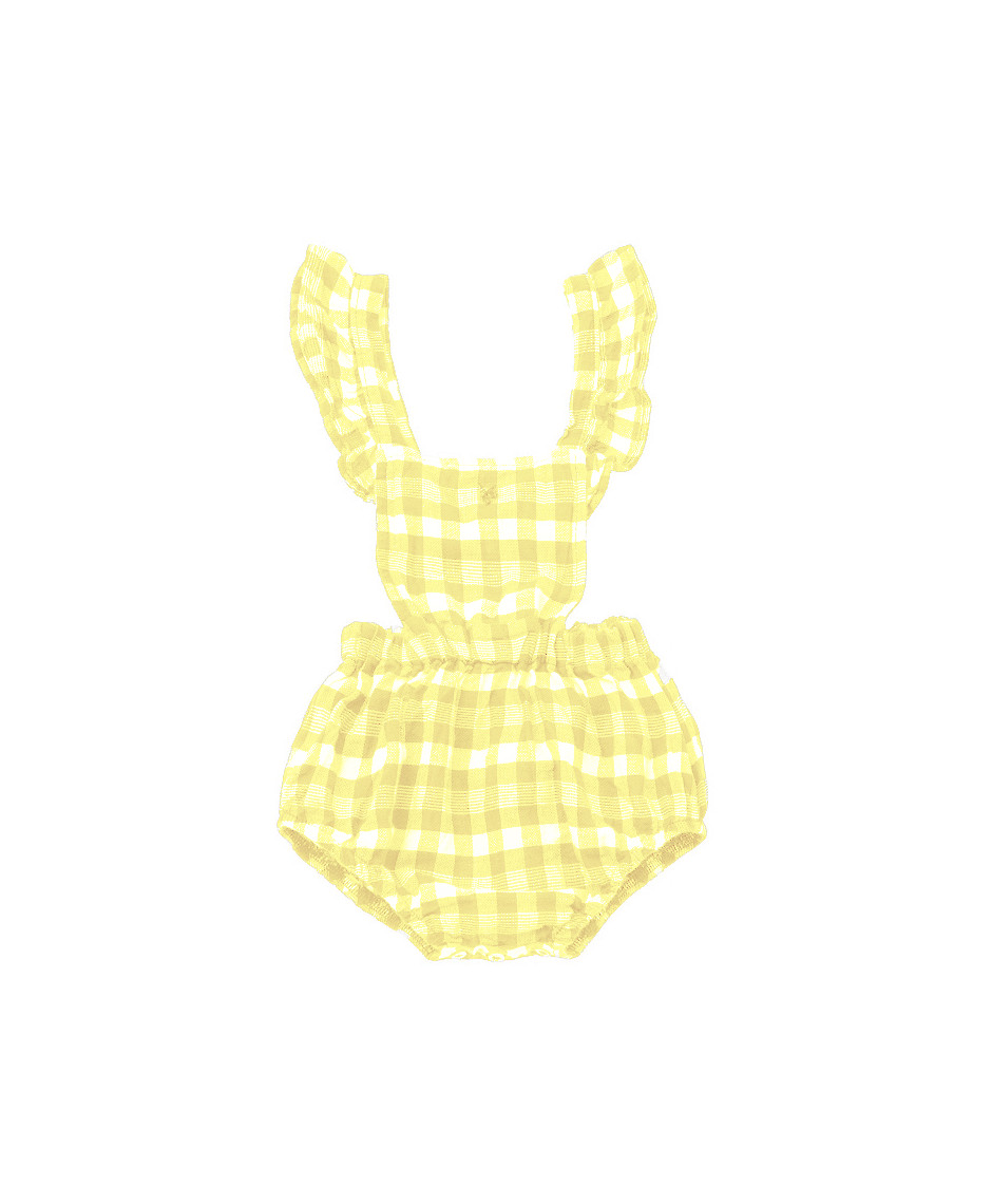 TOCOTO ROMPERS SQUARES VICHY YELLOW