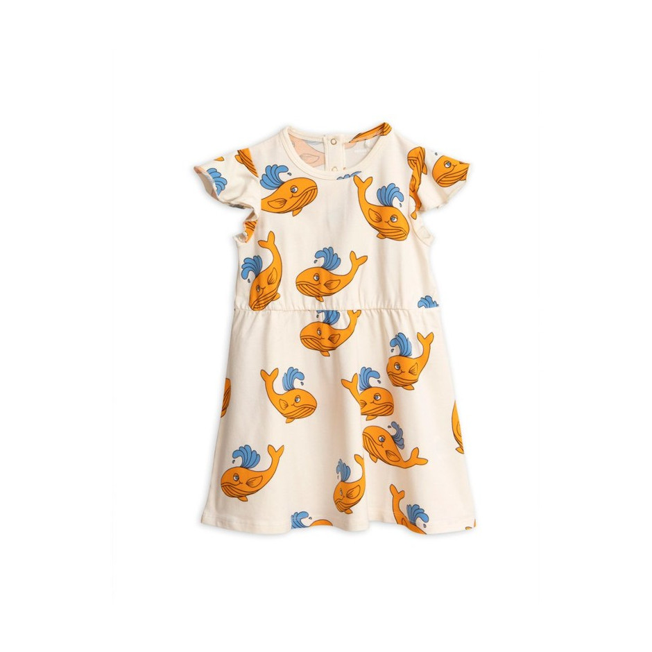 MINI RODINI DRESS WHALE ORANGE