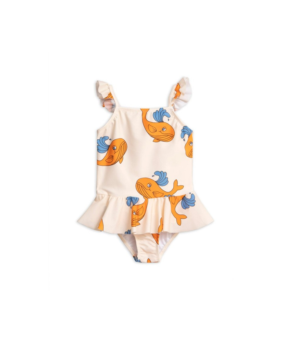 MINI RODINI SWIMSUIT WHALE ORANGE