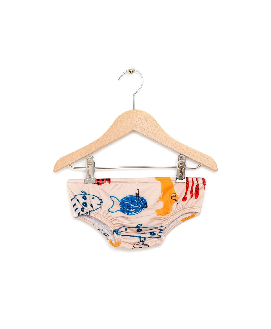 NADADELAZOS SWIM BOTTON FISHES LIGHT BEIGE