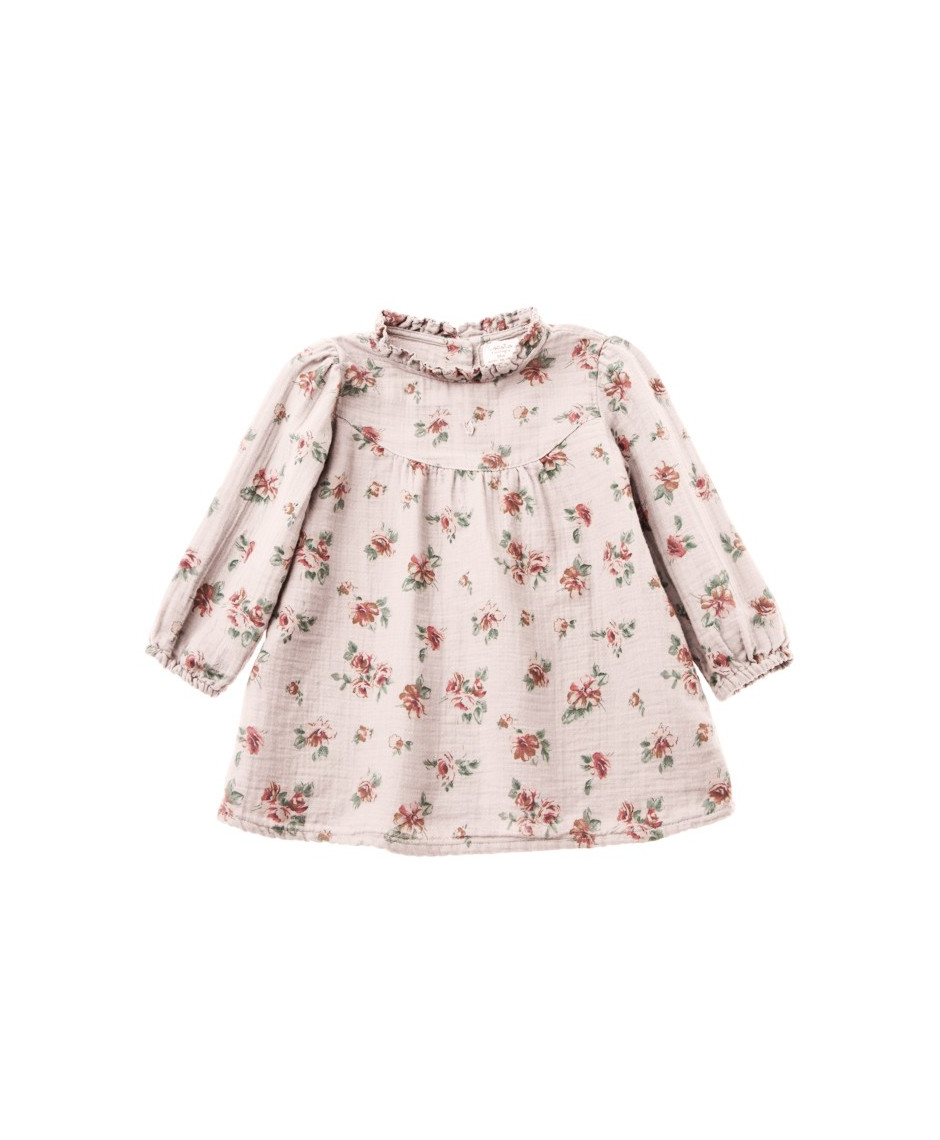 TOCOTÓ VINTAGE FLOWER PRINT BABY DRESS WITH RUFFLED NECK