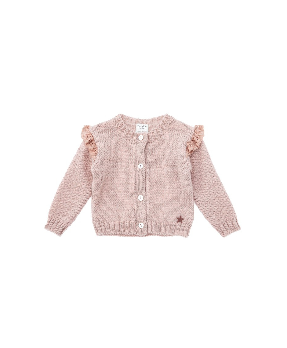 TOCOTO VINTAGE KNITTED CARDIGAN WITH LACE DETAILS
