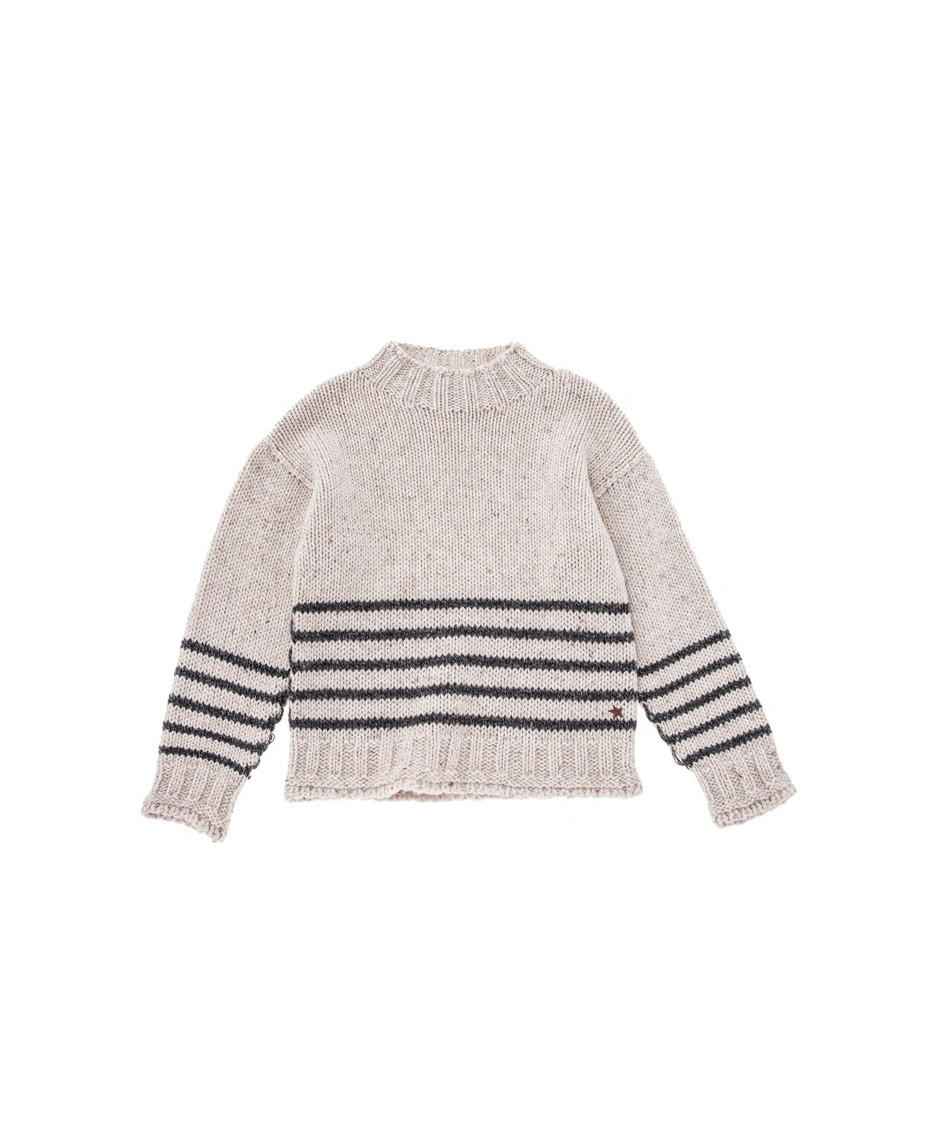 TOCOTO VINTAGE STRIPED SWEATER WITH FUNNEL NECK