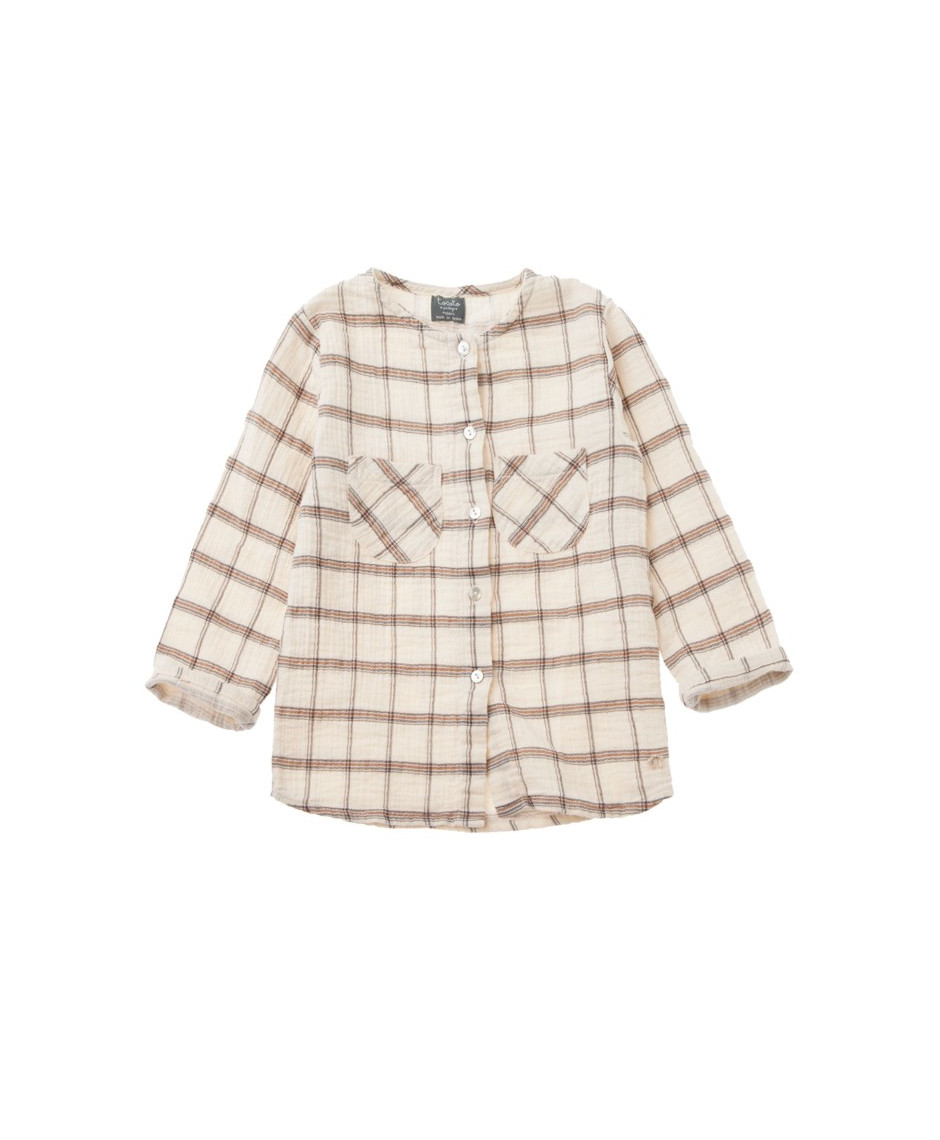 TOCOTO VINTAGE Checkered shirt with round neck and front pockets