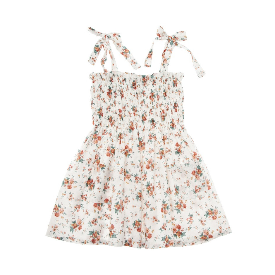 TOCOTO VINTAGE FLOWER DRESS WITH ELASTIC FROUNCED CORP