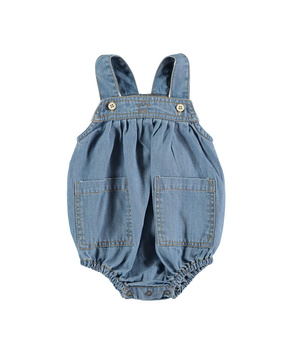 TOCOTO VINTAGE LIGHT DENIM ROMPER WITH FRONT POCKETS