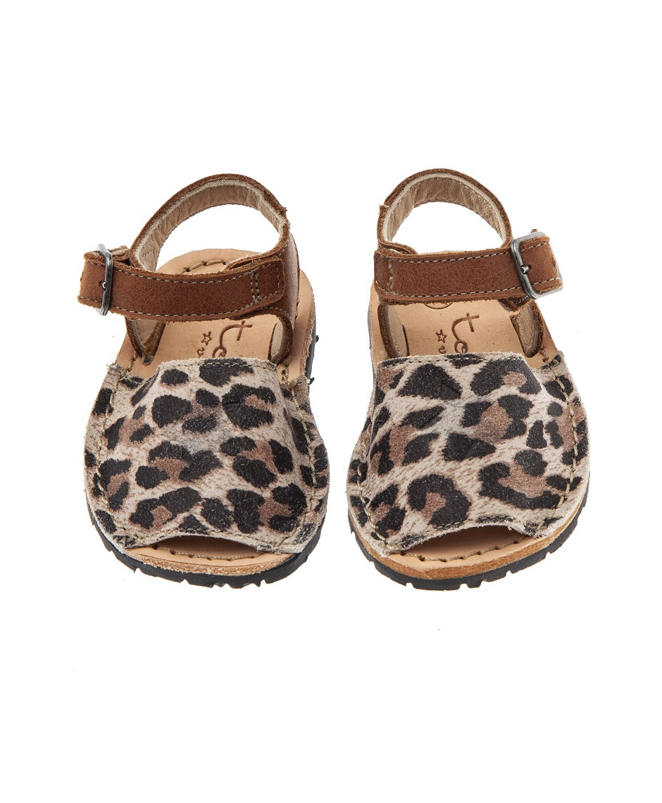 TOCOTO VINTAGE BABY ANIMAL PRINT MENORCAN SANDALS