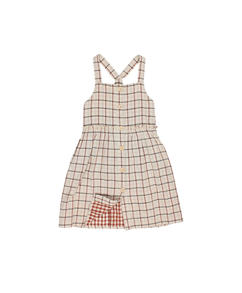 BÚHO BCN ZOE DOUBLE CHECK BUTTONED DRESS